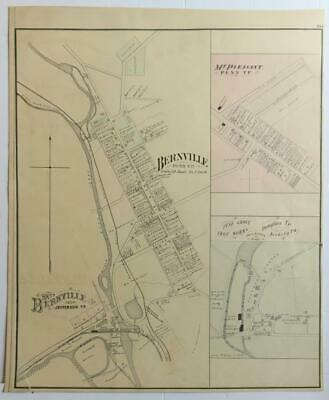 ORIGINAL 1876 hand-colored Map Bernville,Mt. Pleasant,Iron Works,Berks County,PA