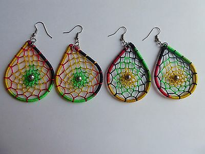 Beautiful Handmade Rasta Dream Catcher  Earrings - 3 Pairs. Made in Peru
