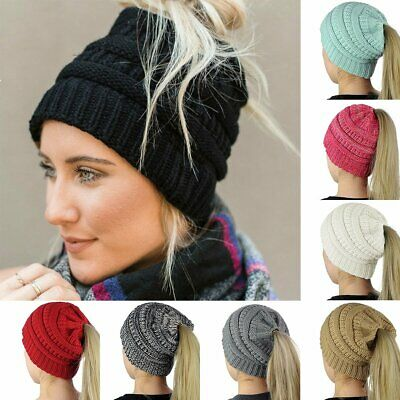 Women Girl's Fashion Hat Winter Warm Knit Cap Messy Bun Ponytail Beanie Hats noa
