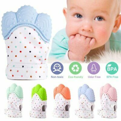 Baby Silicone Mitts Teething Mitten Glove Candy Wrapper Sound Teether Chew Toys