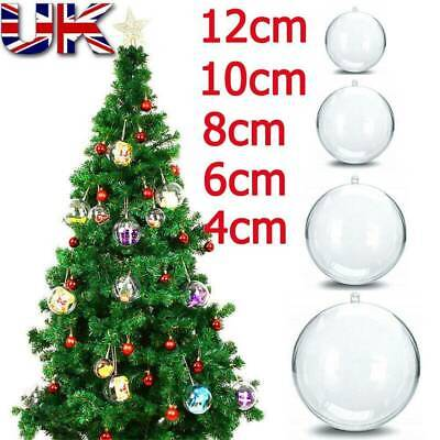 Clear Fillable Baubles Plastic Wedding Favours Balls Christmas Decoration Round