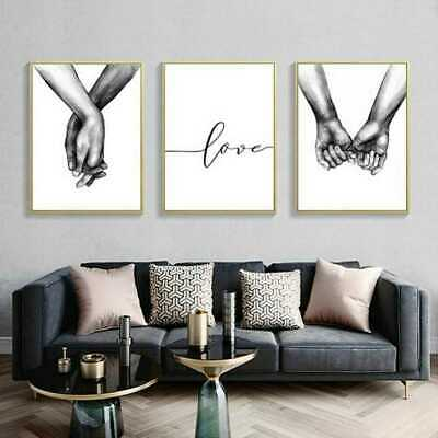 UK Art Love Holding Hands Black &White Picture Canvas Prints Painting Wall Decor