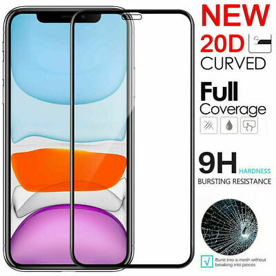 For iPhone 11 Pro Max X XR XS Max 20D Edge 9H Tempered Glass Screen Protector Dr