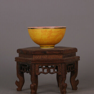 Chinese ancient antique hand make Dragon and Phoenix  pattern Tea Cup a447