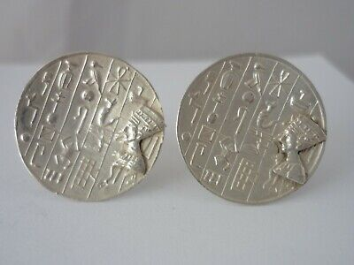 Stunning Large Unusual Egyptian Hallmarked Solid Silver Cufflinks