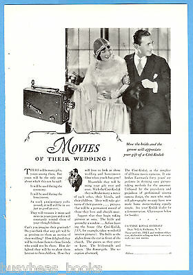 1928 KODAK Movie Camera advertisement, Cine-Kodak, Bride & Groom