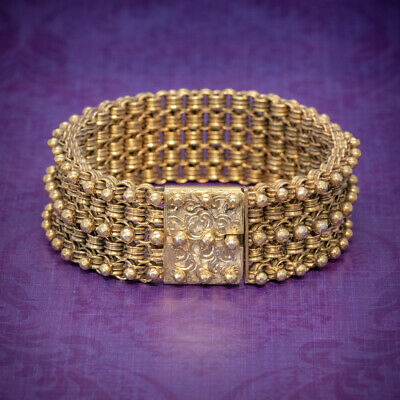 Antique Victorian Bracelet 18Ct Gold On Silver Circa 1880