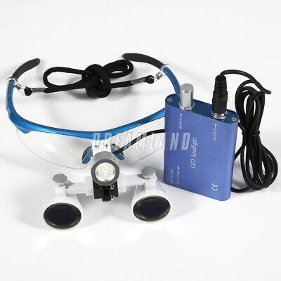 Dental 3.5X 420mm Binocular Loupes Optical Glasses w/ LED Head Light Lamp blue