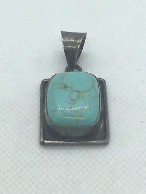 Vintage Taxco TV-41 Pendant Sterling Silver Turquoise Rectangle Dangle Mexico