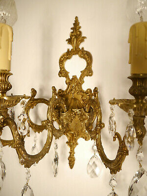 large brass crystal spanish wall lamps pair sconces 3 lights match chandelier