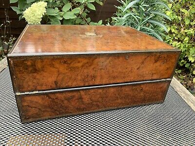 Antique Burr Walnut Stationary Box Writing Slope By Royal Letters Patent 351