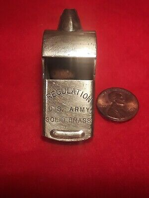 Vintage Regulation US Army Solid Brass Whistle World War II Era