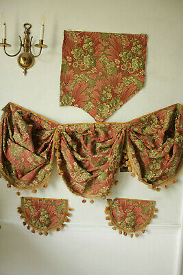 Antique French fabric 19th century jacquard weave pink & green swag valance 1880