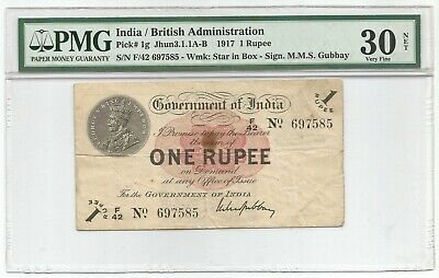 India Rupee 1917 P#1g Banknote PMG 30 NET - Very Fine