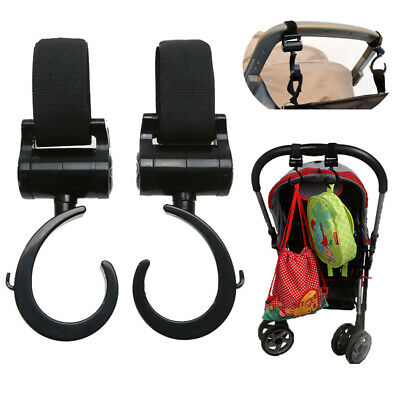 2Pcs Baby Hanger Bag Stroller Hooks Pram Rotate 360° Cart Hook Accessories