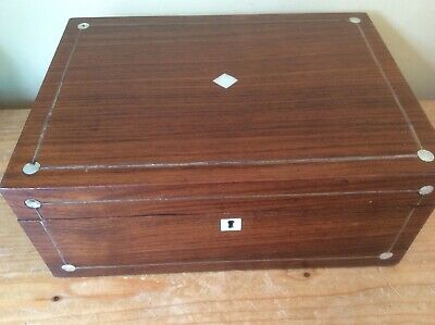 Vintage Mahogany  Stringed Writing Box With Mother Of Pearl Inlay