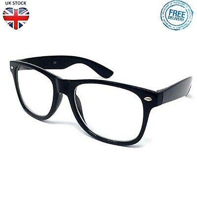 NERD GLASSES Black Frame Clear Lens Vintage Geek Fashion Sunglasses Fancy Dress