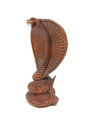 Hand Carved Cobra Snake Statue 8'' Solid Wood Carving By Zenda Imports