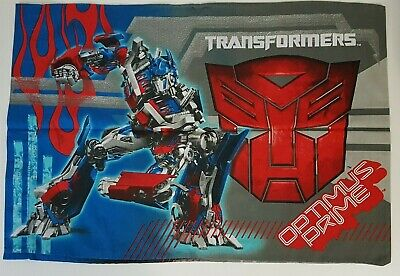 Transformers Twin Size Pillowcase with Optimus Prime and Megatron Blue and Red