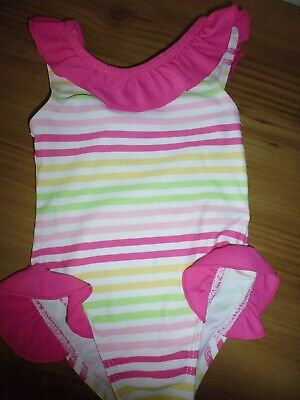 Mothercare Baby Girls Pink Striped Swimming Costume ..Age 3-6 Months