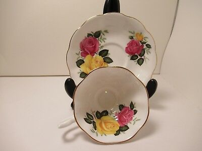 """Royal Albert Eng China Cup & Saucer """"June Delight"""" White Wi Pink Yellow Flowers"""