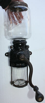 PAT 1905 BRIGHTON Cast Iron PREMIER Glass Hopper Wall Coffee Grinder Antique OLD