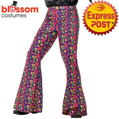 CA1124 Mens 60s 70s Psychedelic CND Costume Flared Trousers Pants Hippie Retro