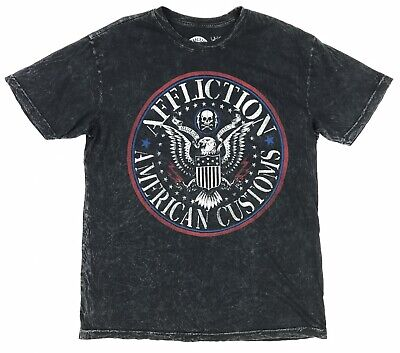 Affliction Men's XL S/S Black Red Blue Distressed American Custom Eagle T-Shirt