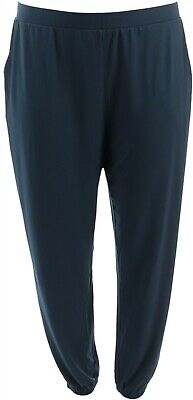 Lisa Rinna Collection Knit Cropped Jogger Pants Dark Sapphire L NEW A341719