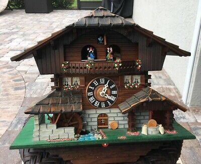 Vintage Cuckoo Clock Weggiserlied Schweizerlandier Swiss Musical Movement