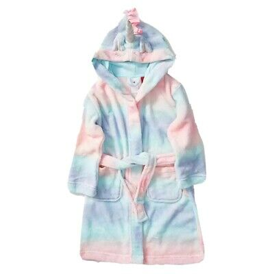 Girls size 3 RAINBOW UNICORN  soft fleece Dressing Gown with hood Target NEW