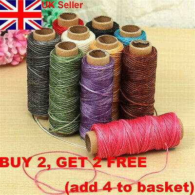 30m Waxed Thread Cotton Cord String Strap Hand Stitching Thread for Leather UK