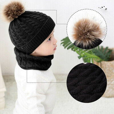 Baby Pom Pom Hat Bobble Beanie Winter Knitted Chin Tie Flaps Boys Girls 0-3Y