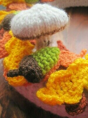 Large Hand Knitted Autumn Acorn And Squirrel Indoor Wall Wreath. Fall