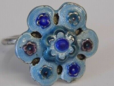 An Unusal Antique Hallmarked Chinese Export Silver Enamel Adjustable Flower Ring