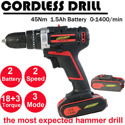 2xLithium Ion Cordless Combi Hammer Drill Impact Driver Screwdriver &Sturdy Case