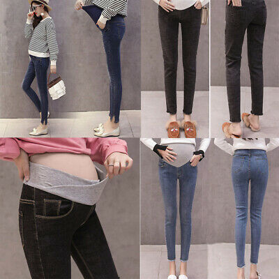 Maternity Women Pregnant Solid Abdominal Trousers Prop Belly Legging Jeans Pants