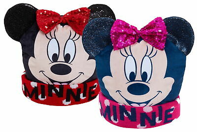 Girls Disney Minnie Mouse 3D Bobble Hat Kids Glitter Winter Fleece Lined Cap