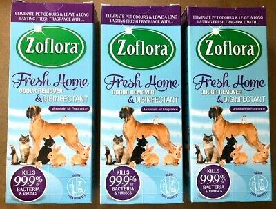 3 x ZOFLORA FRESH HOME PET ODOUR REMOVER & DISINFECTANT MOUNTAIN AIR 500ml