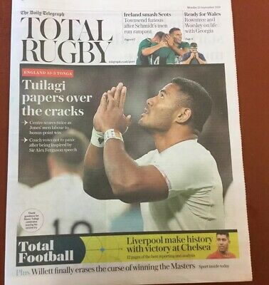 The Telegraph Newspaper  Rugby World Cup Pullout Featuring England V Tonga.new