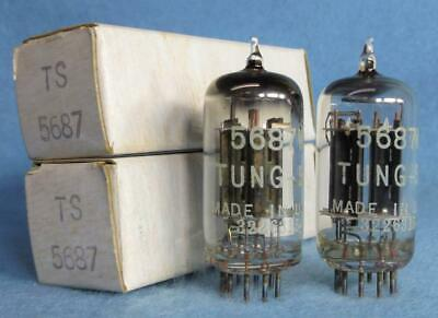 2-Tung-Sol 5687WA 5687 WA Vacuum Tubes NOS/NIB Amplitrex Tested D Getter