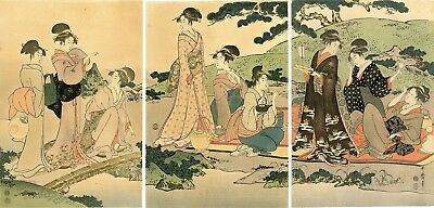 "Lovely Meiji era UTAMARO Japanese woodblock triptych: ""PICNIC BY A STREAM"""