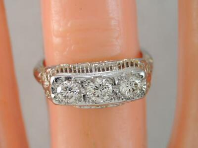 ANTIQUE Art Deco 14K WHITE GOLD 3 DIAMOND WEDDING BAND RING .75 CT TDW