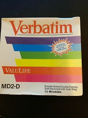 Verbatim MD2-D Double Sided/Double Density Soft Sectored Hub Ring 10 Minidisks