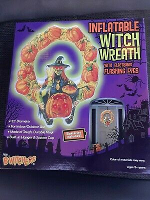 Spirit Halloween Inflatable Witch Wreath with Flashing Eyes ! New In Box
