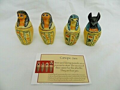 """Egyptian Canopic Jars Small Resin Colored Engraved 2.75""""  Four Sons Of Horus"""