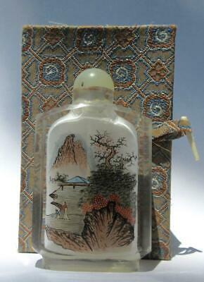 Vintage Chinese Glass Snuff Bottle Jade Top Spoon Reverse Painting Landscape Art