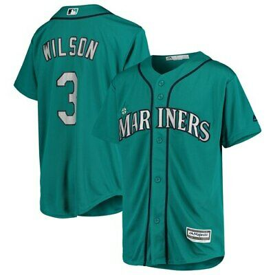 Majestic Russell Wilson Seattle Mariners Youth Aqua MLB x NFL Player Jersey