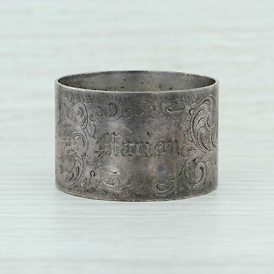 Towle Floral Engraved Napkin Ring - Sterling Silver 8712 Monogrammed