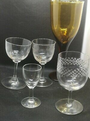 A Collection Of Victorian Antique 19th Century Drinking Glasses